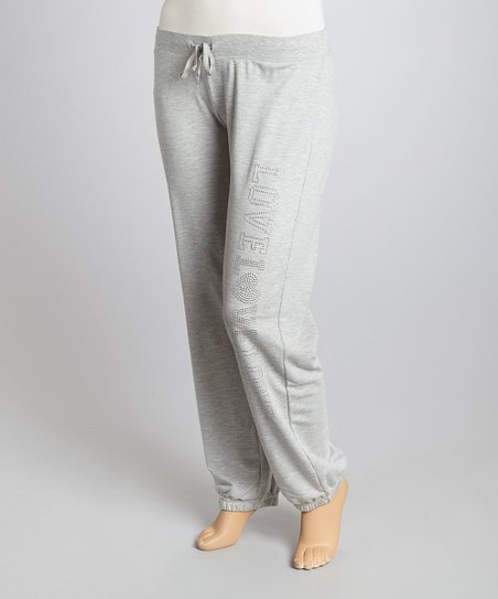 Gray 'Love Love Love' Lounge Pants - Plus