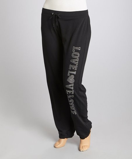 Black 'Love Love Love' Lounge Pants - Plus