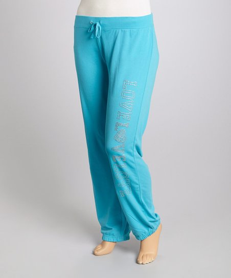 Blue 'Love Love Love' Lounge Pants - Plus