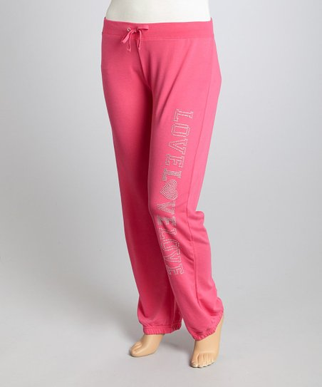 Pink 'Love Love Love' Lounge Pants - Plus