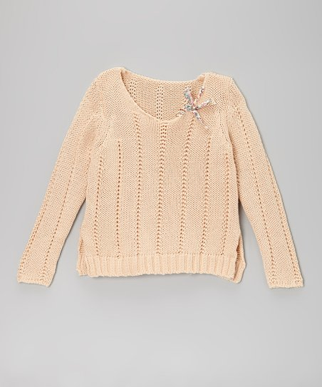 Beige Bow Knit Sweater - Girls