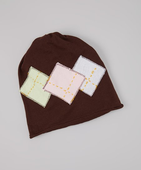 Brown & Pink Argyle Beanie