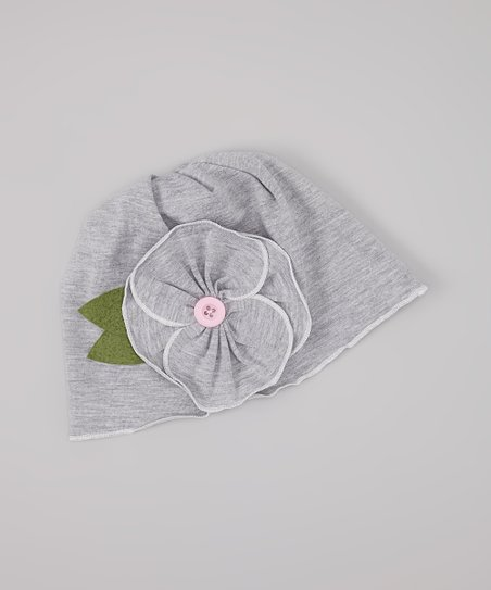 Light Gray Flower Beanie