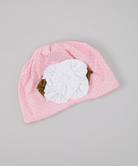 Light Pink Polka Dot Flower Beanie