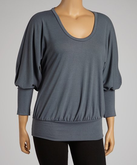 Gray Dolman Top - Plus