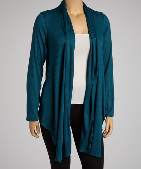 Dark Teal Open Cardigan - Plus