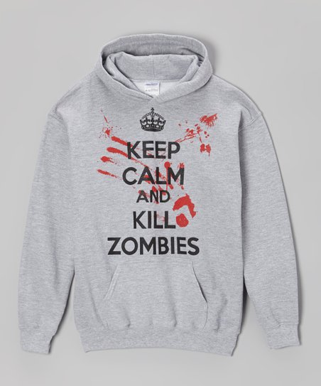 Gray 'Keep Calm and Kill Zombies' Hoodie - Kids & Adults