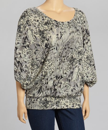 Gray Abstract Dolman Top - Plus