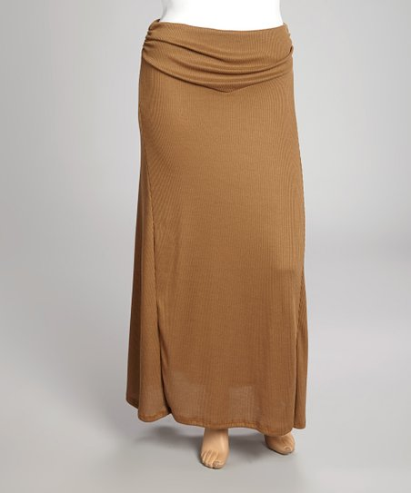 Brown Fold-Over Maxi Skirt - Plus