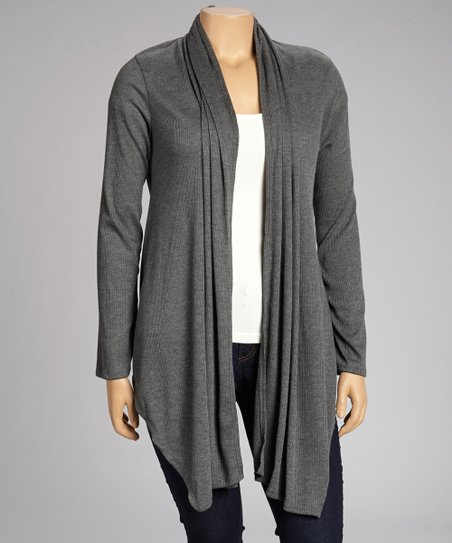Charcoal Sharkbite Open Cardigan - Plus