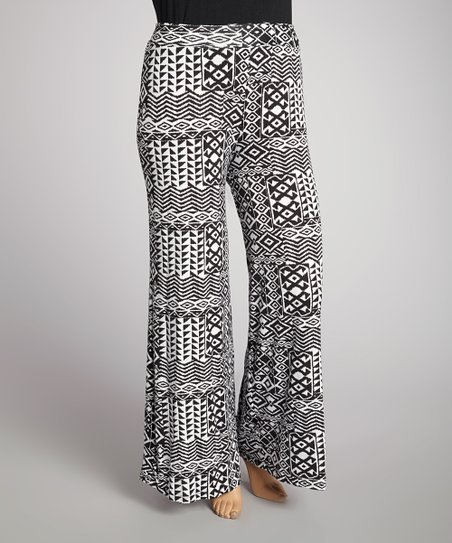 Black & White Tribal Palazzo Pants - Plus