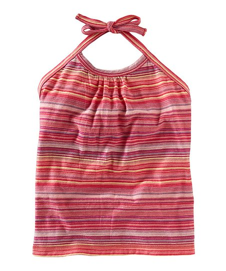 Pink Amaryllis Africa Stripe Halter Top - Infant, Toddler & Girls