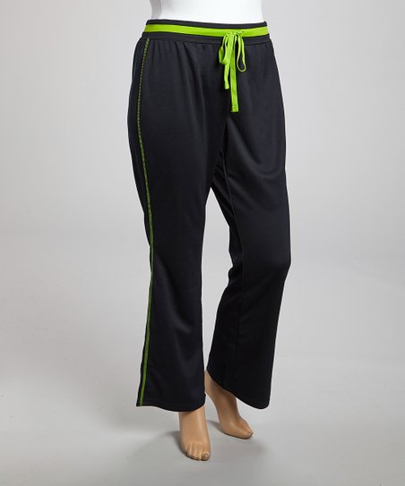 Lime & Black Stripe B Insert Pants - Plus