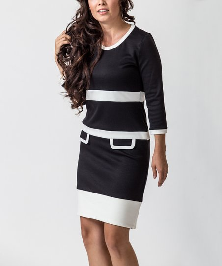 Black & Cream Mod Office Dress