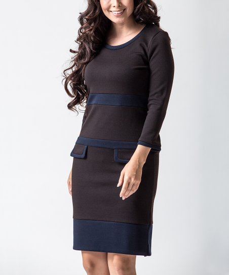 Brown & Navy Mod Office Shift Dress