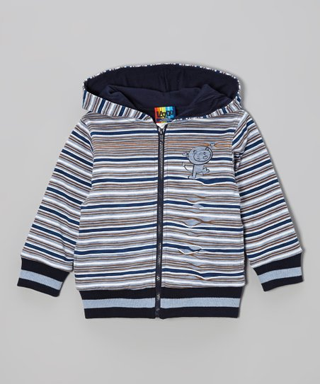 Navy & Brown Stripe Zip-Up Hoodie - Infant & Toddler