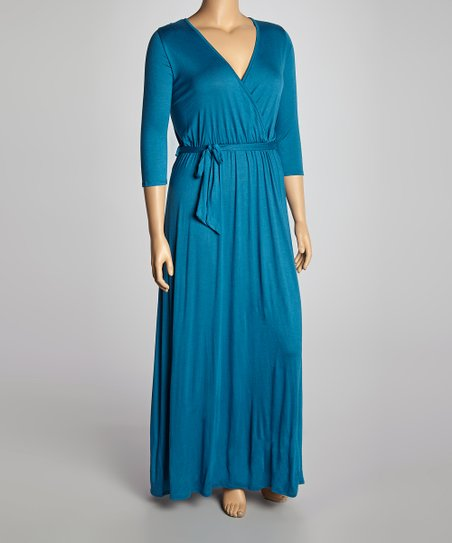 Dark Teal Surplice Maxi Dress - Plus