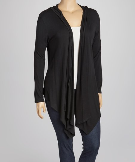 Black Hooded Open Cardigan - Plus