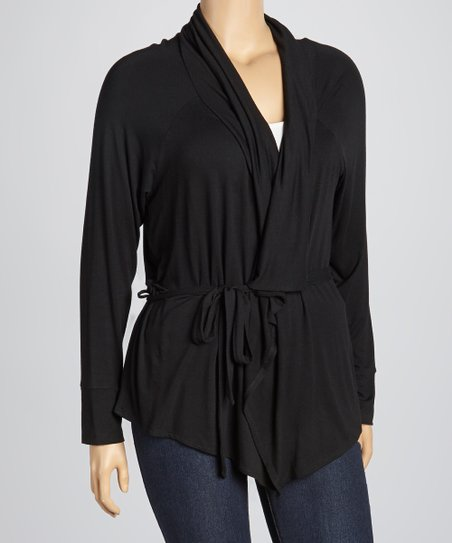 Black Lapel-Front Cardigan - Plus