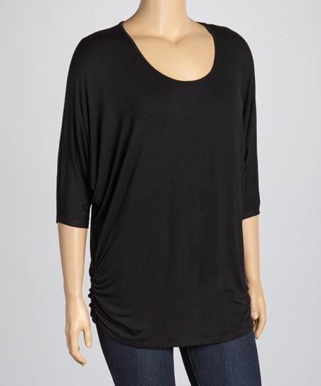 Black Ruched Top - Plus
