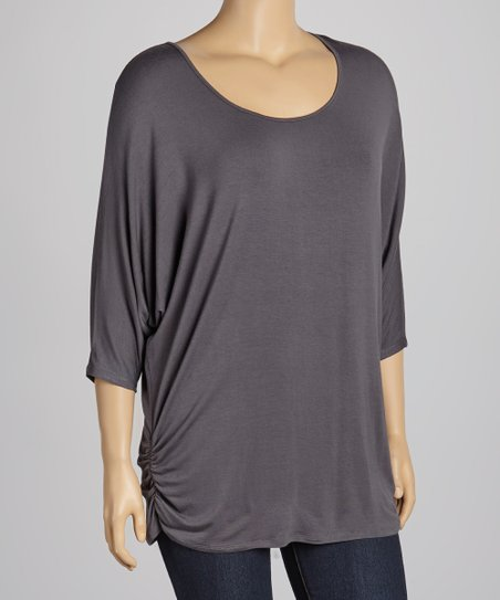 Charcoal Ruched Top - Plus