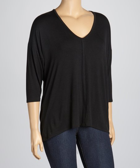 Black V-Neck Dolman Top - Plus