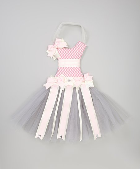 Pink Zigzag Tutu Bow Holder
