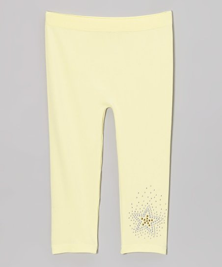 Lemon Rhinestone Star Leggings - Girls