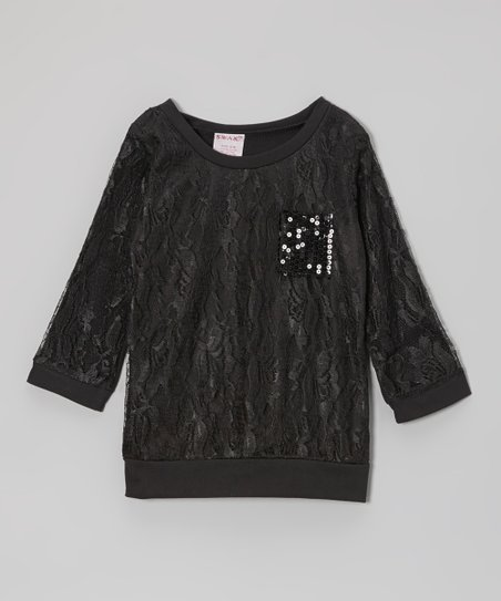 Black Sequin Pocket Lace Top - Girls