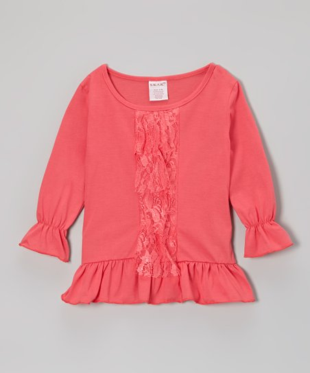 Peach Lace Ruffle Tunic - Girls