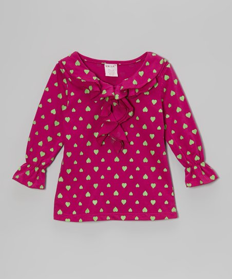 Berry & Lime Heart Ruffle Top - Girls
