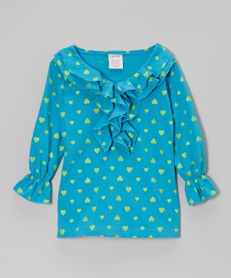 Turquoise & Lime Heart Ruffle Top - Girls