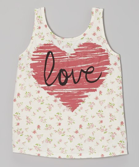 Ivory 'Love' Floral Heart Tank - Girls