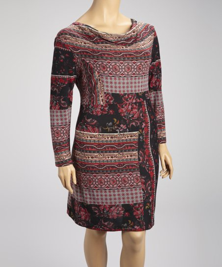 Burgundy & Black Floral Tapestry Drape Neck Dress - Plus