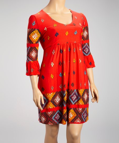 Red Diamond Bell-Sleeve Dress - Plus