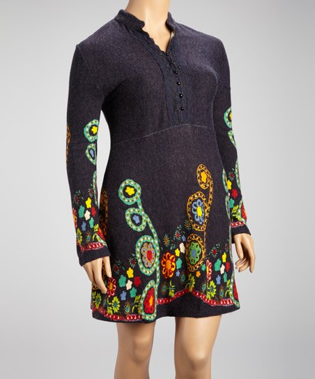 Navy Flower Embroidery Dress - Plus