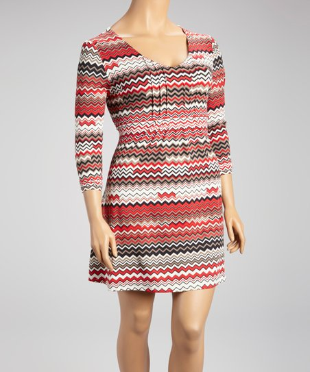 Red Modern Zigzag Long-Sleeve Dress - Plus