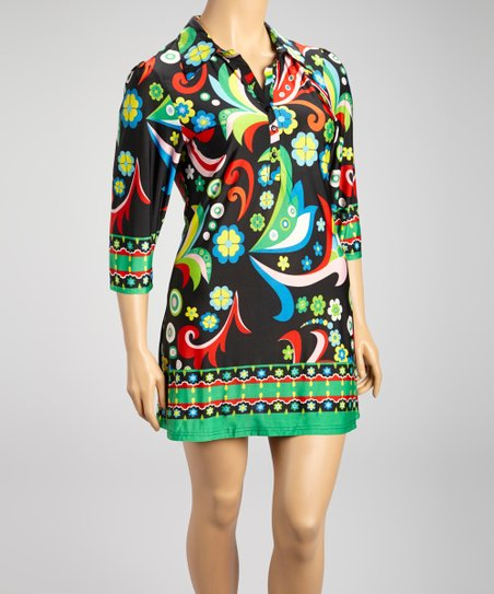 Black & Red Vibrant Floral Shift Dress - Plus