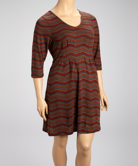Burgundy Subtle Zigzag Shift Dress - Plus