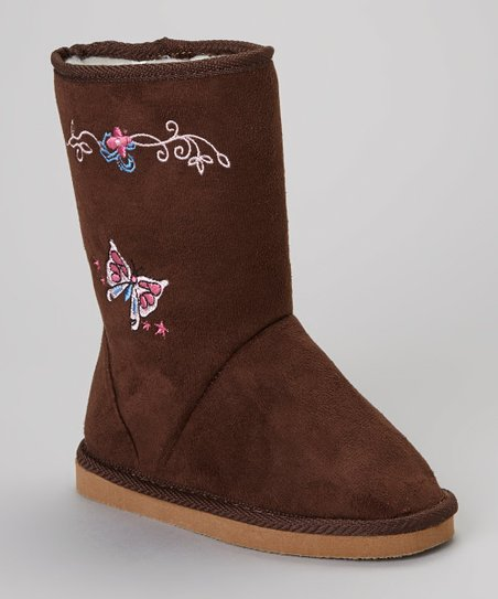 Brown Butterfly Flower Boot