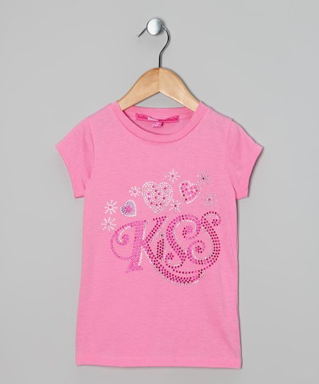 Pink Sequin 'Kiss' Tee