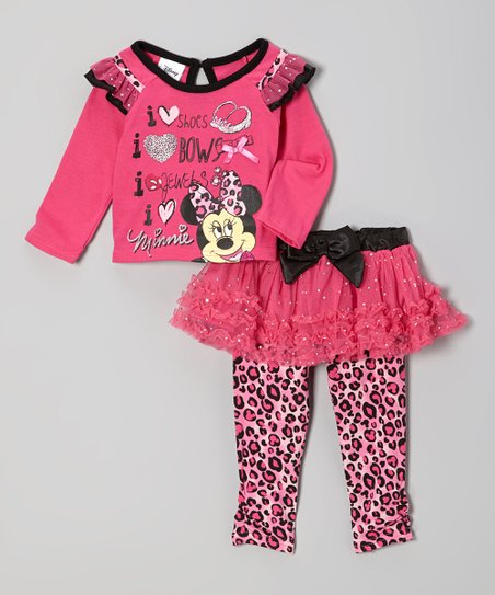 Pink Minnie Ruffle Tee & Skirted Leggings