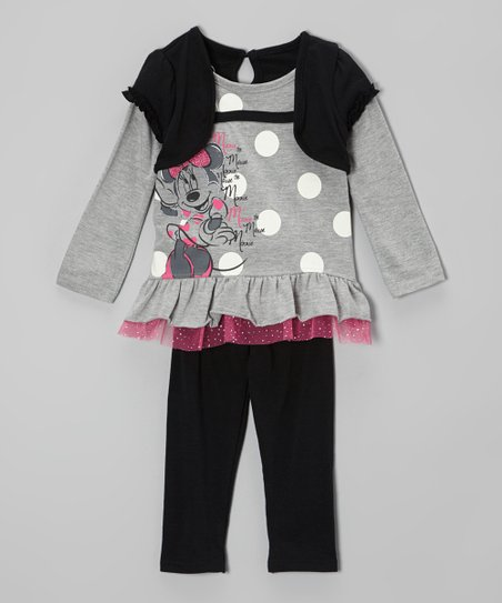 Gray 'Minnie Mouse' Layered Tunic & Navy Leggings - Toddler