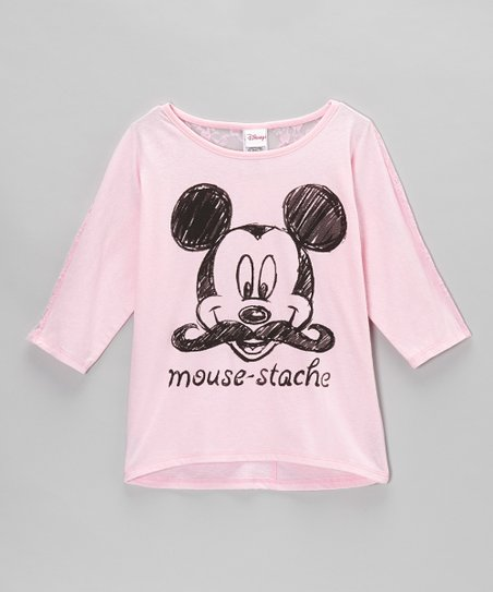 Icy Pink 'Mouse-Stache' Lace-Back Tee - Girls