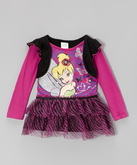 Purple Tinker Bell Sparkle Layered Tunic - Toddler & Girls