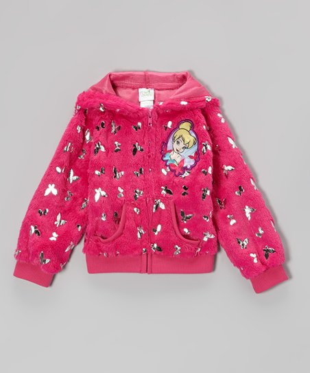 Pink Shiny Butterfly Tinker Bell Fleece Hooded Zip-Up - Girls
