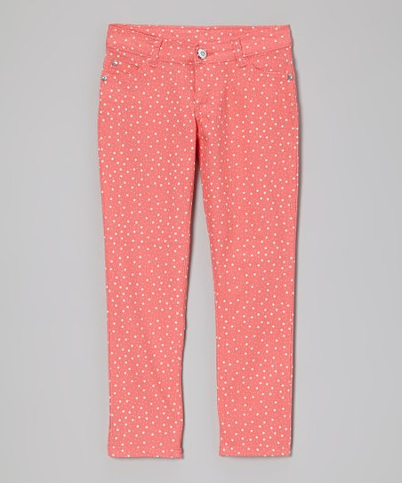Coral Star Skinny Jeans - Girls