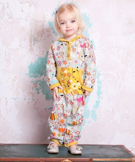 Light Blue & Yellow Bees Hooded Playsuit - Infant