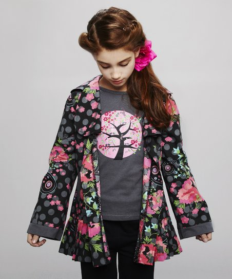 Gray Cherry Blossom Tee - Toddler & Girls