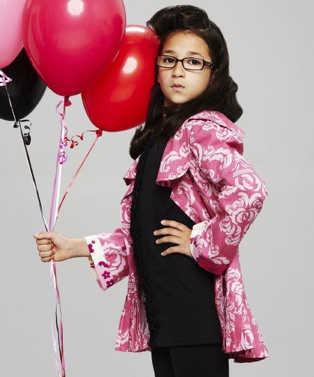 Pink Damask Ruffle Jacket - Toddler & Girls